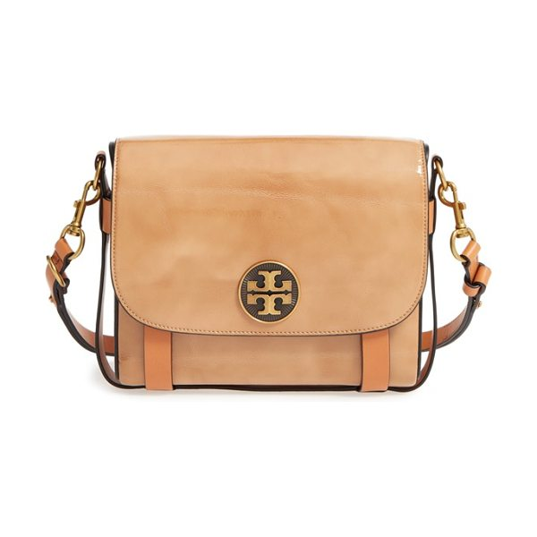 TORY BURCH Alastair patent leather shoulder/crossbody bag in camel - A convertible harness bag named for Tory's childhood...