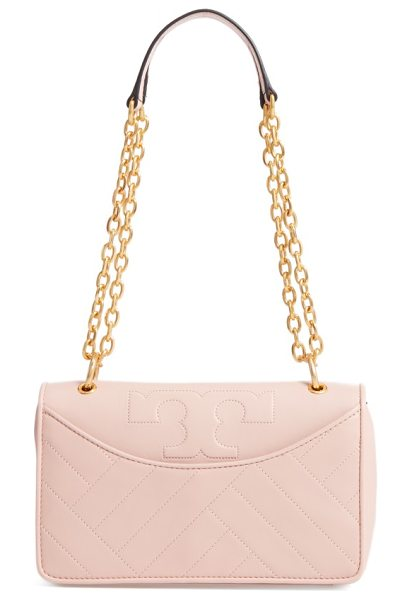 Tory Burch alexa leather shoulder bag in dark pink quartz - Modern channel quilting and a stitched logo refine a...