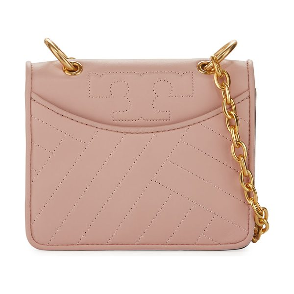 Tory Burch Alexa Mini Quilted Chain Shoulder Bag in dark pink quartz - Tory Burch quilted leather shoulder bag. Dark Pink...