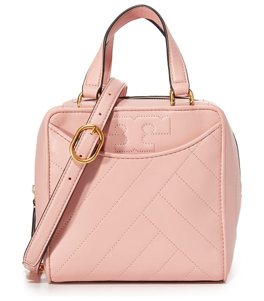 Tory Burch alexa mini satchel in pink quartz - A boxy Tory Burch bag with a soft, quilted exterior. 2...