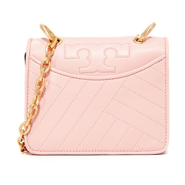 Tory Burch alexa mini shoulder bag in pink quartz - A leather Tory Burch bag with the brand's signature T...