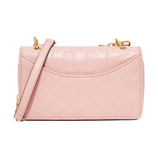 Tory Burch alexa shoulder bag in pink quartz - A leather Tory Burch bag with the brand's signature T...