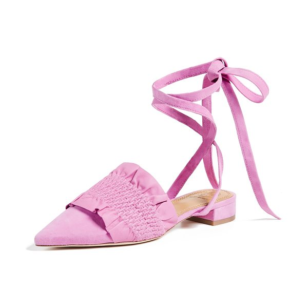 Tory Burch angelica 20mm ankle wrap mules in magnolia rosa/magnolia rosa - Leather: Goatskin Smocked leather Ruffled trim Mules...