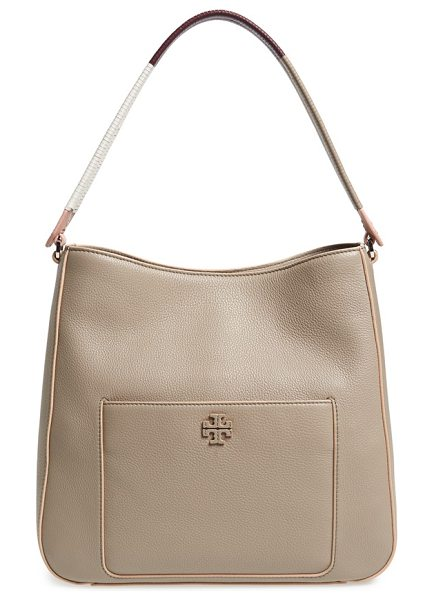 Tory Burch Berkeley hobo in french gray - Contrast-painted edges and a wrapped, color-spliced...