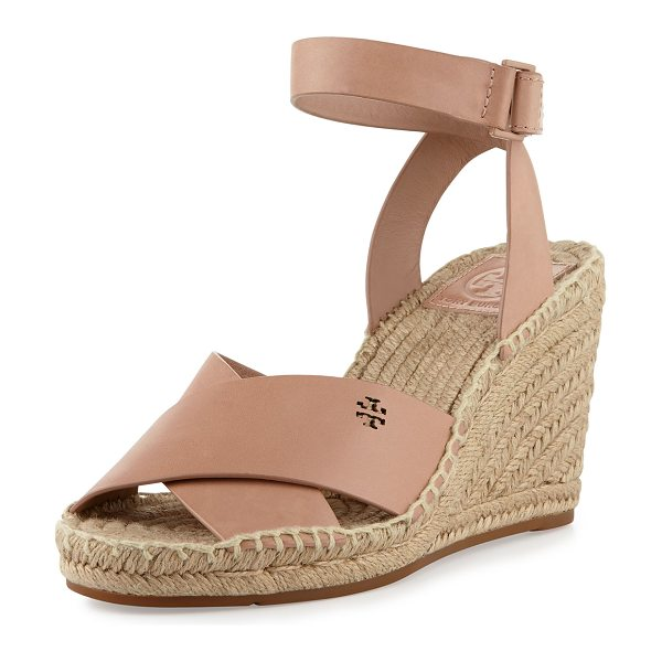 "Tory Burch Bima Leather Wedge Espadrille Sandal in makeup - Tory Burch leather espadrille sandal. 3.5"" braided jute..."
