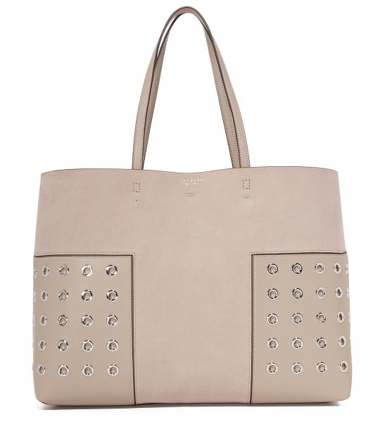 TORY BURCH block t grommet tote in french gray - A large Tory Burch tote in smooth leather, accented with...