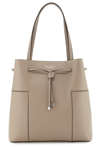 Tory Burch Block-T Leather Bucket Tote Bag in french gray - Tory Burch leather bucket tote bag with golden hardware....