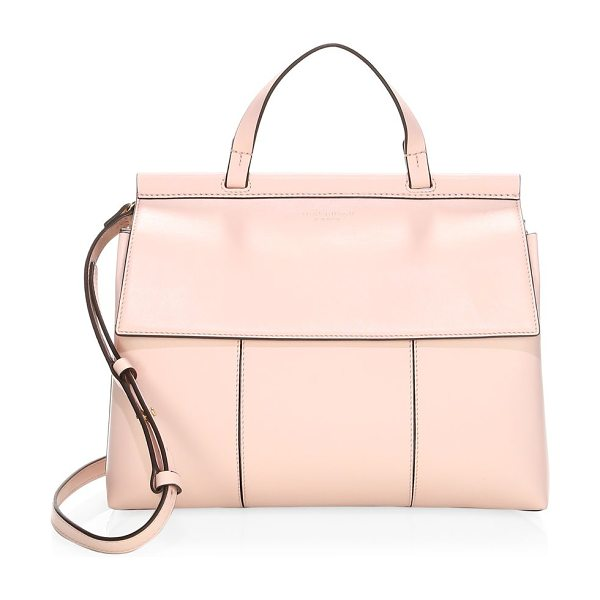 Tory Burch block-t leather satchel in shellpink - Solid pattern highlights this structured satchel. Top...