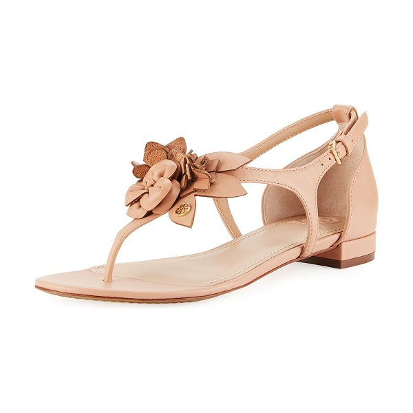 "Tory Burch Blossom Flat Floral Sandal in light makeup - Tory Burch leather sandal with floral appliqus. 0.8""..."