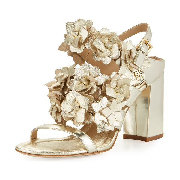 Tory Burch Blossom leather 65mm sandal in gold - ONLYATNM Only Here. Only Ours. Exclusively for You. Tory...