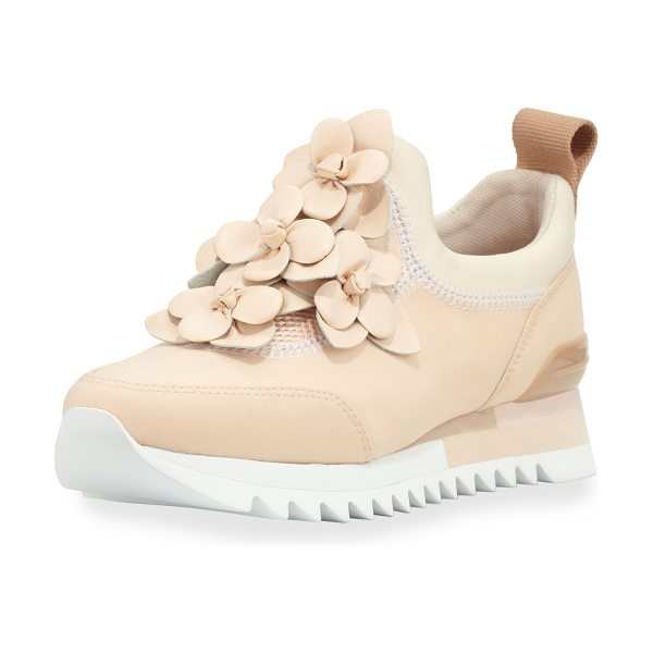 "Tory Burch Blossom Neoprene Sneaker in blush - Tory Burch neoprene sneaker with floral appliqu. 1.3""..."