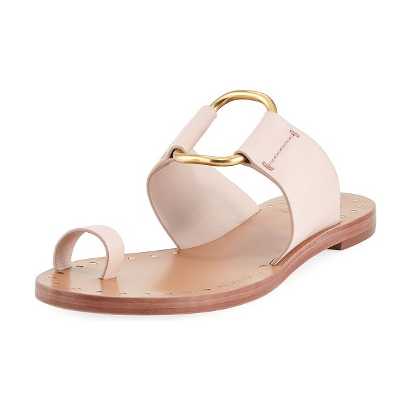 TORY BURCH Brannan Flat Studded Leather Slide Sandal in sea shell pink - Tory Burch leather sandal with cutout metal center. Flat...