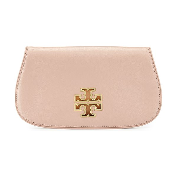 TORY BURCH Britten leather clutch bag - Tory Burch grained calfskin clutch with golden hardware....