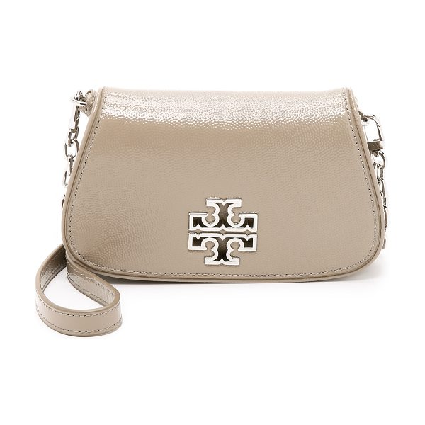 Tory Burch Britten mini cross body bag in french gray - Pebbled patent leather adds shine to this petite Tory...