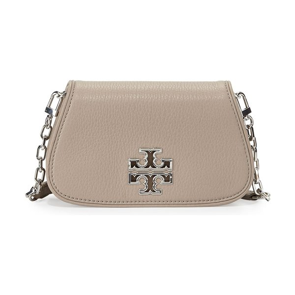 Tory Burch Britten mini crossbody bag in french gray - Tory Burch pebbled leather mini crossbody bag with...