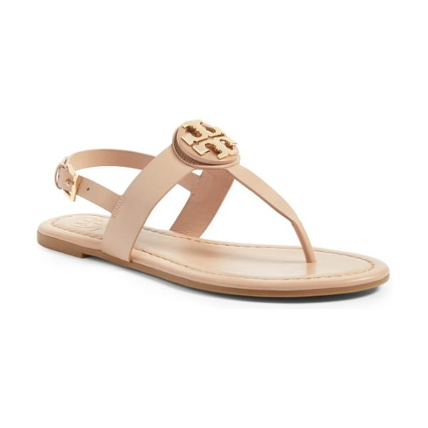 Tory Burch bryce sandal in makeup - A gleaming logo medallion takes center stage on a...