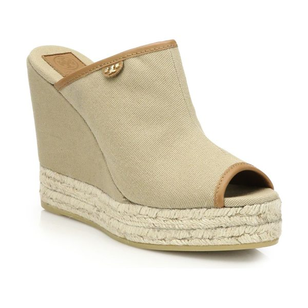 Tory Burch Canvas & espadrille wedge mule sandals in tan - Tory Burch reinvents the sleek mule silhouette with a...