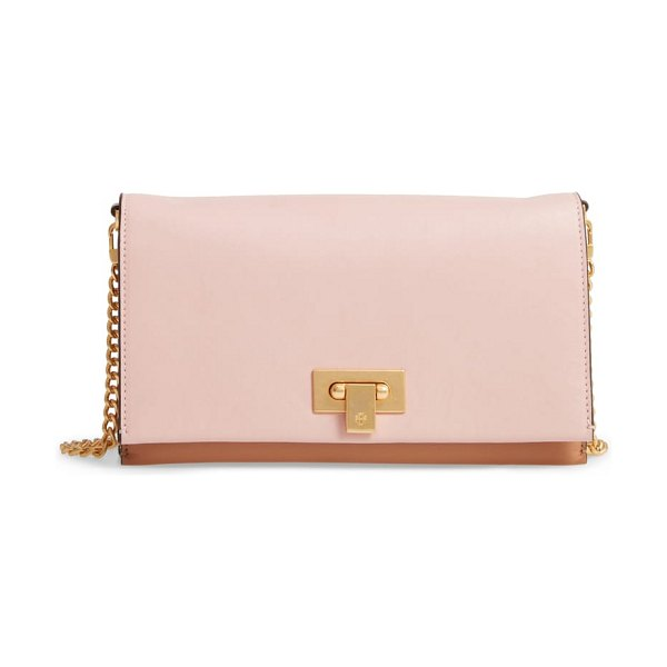 Tory Burch carmen leather clutch in pink - Smooth leather underscores the refined aesthetic of a...