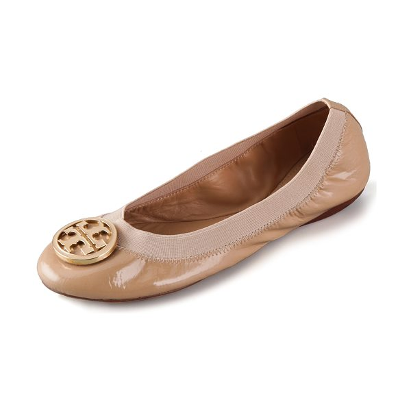 Tory Burch Caroline patent ballet flat in camille pink - These patent leather Tory Burch ballet flats feature an...