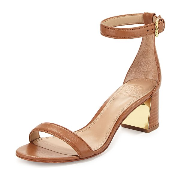 "Tory Burch Cecile 55mm Leather City Sandal in peanut butter - Tory Burch leather city sandal. 2"" stacked heel with..."