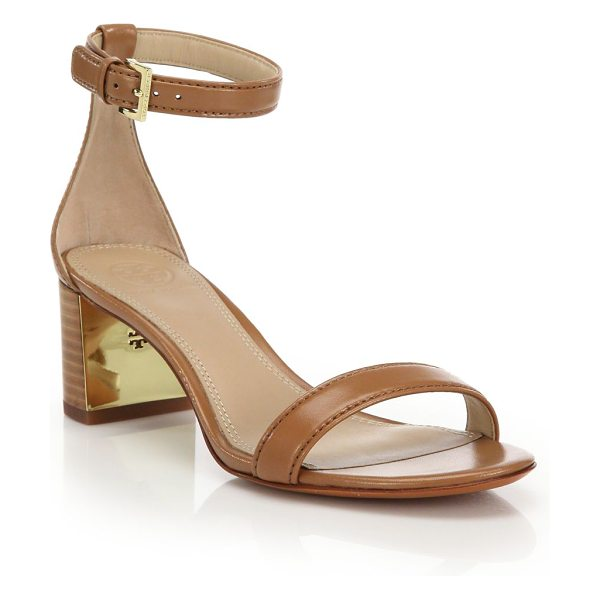 Tory Burch Cecile leather mid-heel sandals in peanutbutter - Classic heeled silhouette in rich leatherStacked heel,...