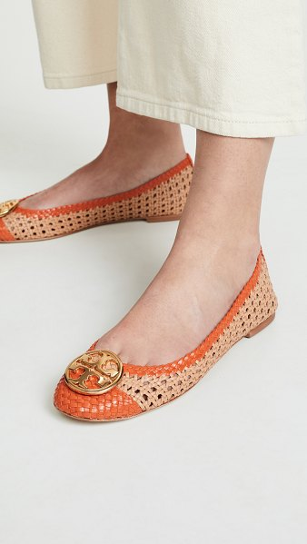 Tory Burch chelsea cap toe ballet flats in natural vachetta/pomander - Leather: Cowhide Woven leather Contrast trim Ballet...