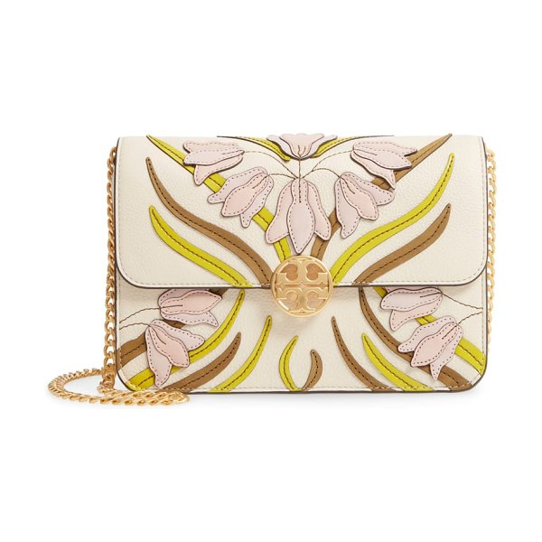 Tory Burch chelsea floral applique leather shoulder bag in pink - Lovely floral appliques and a chic neutral palette bring...