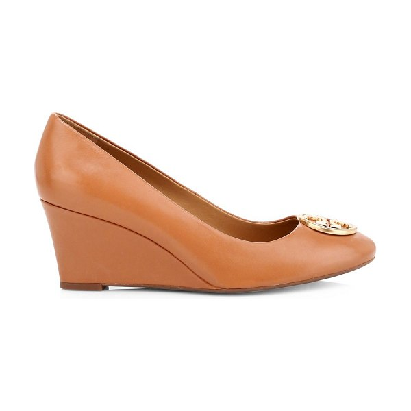Tory Burch chelsea leather wedge pumps in tan