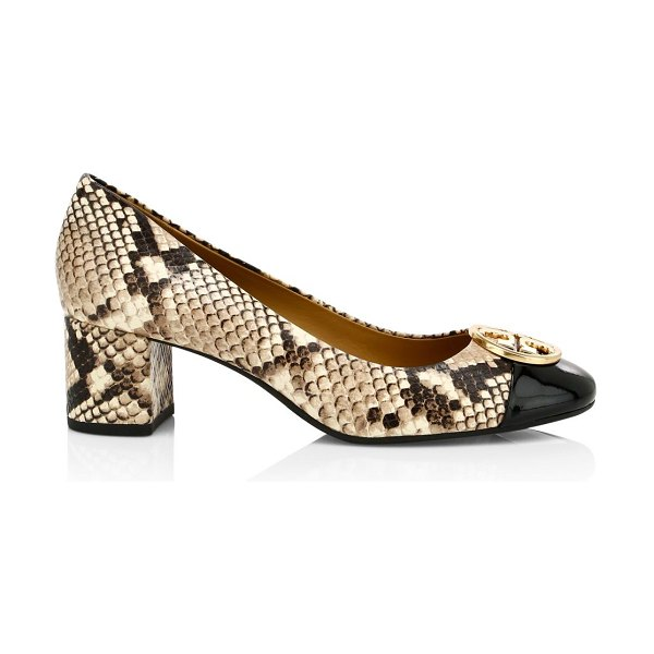 Tory Burch chelsea snakeskin-print cap toe pumps in neutral
