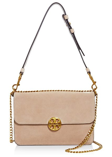 Tory Burch Chelsea Suede Shoulder Bag in stucco/gold - Tory Burch Chelsea Suede Shoulder Bag-Handbags