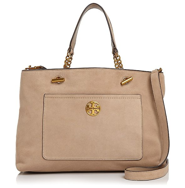 Tory Burch Chelsea Suede Tote in stucco/gold - Tory Burch Chelsea Suede Tote-Handbags