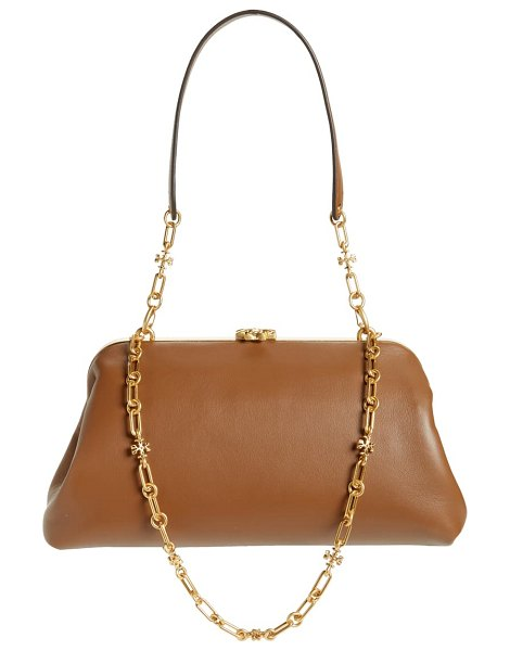Tory Burch cleo leather shoulder bag in brown