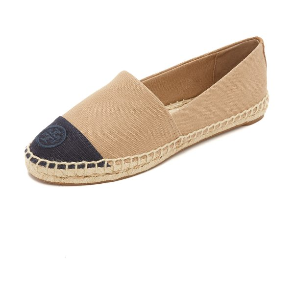 Tory Burch Color block espadrilles in khaki/navy - An embroidered logo accents the vamp of these two tone...