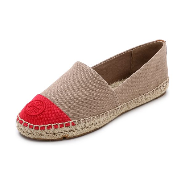 Tory Burch Colorblock espadrilles in khaki/red pepper/royal tan - Logo stitching accents the contrast toe cap on these...