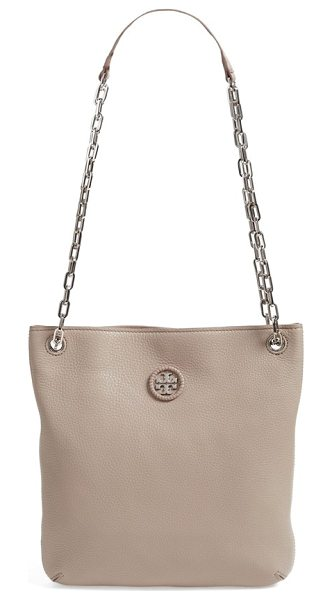 Tory Burch Convertible leather crossbody bag in french gray - Whipstitched trim highlights the goldtone logo medallion...