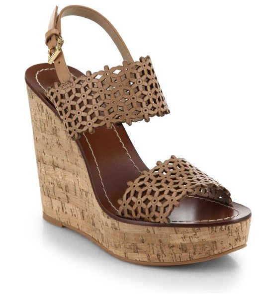 TORY BURCH Daisy cutout leather wedge sandals - Glossy patent leather is laser cut into a floral design,...