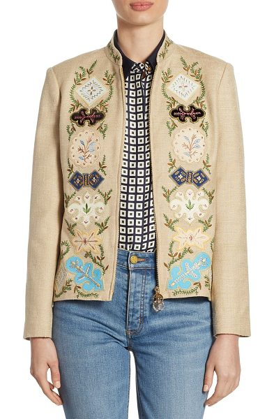 Tory Burch damian silk jacket in indian desert - Luxe jacket with attractive floral and vine motifs....