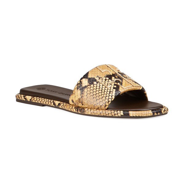 Tory Burch Double T Snake-Print Slide Sandals in pale desert rocci