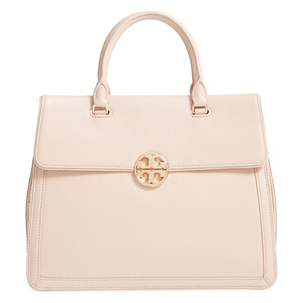 Tory Burch Duet leather satchel in light oak/ spark gold - Contrast gussets add striking modern style to a...