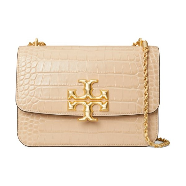Tory Burch eleanor croc-embossed leather shoulder bag in sand