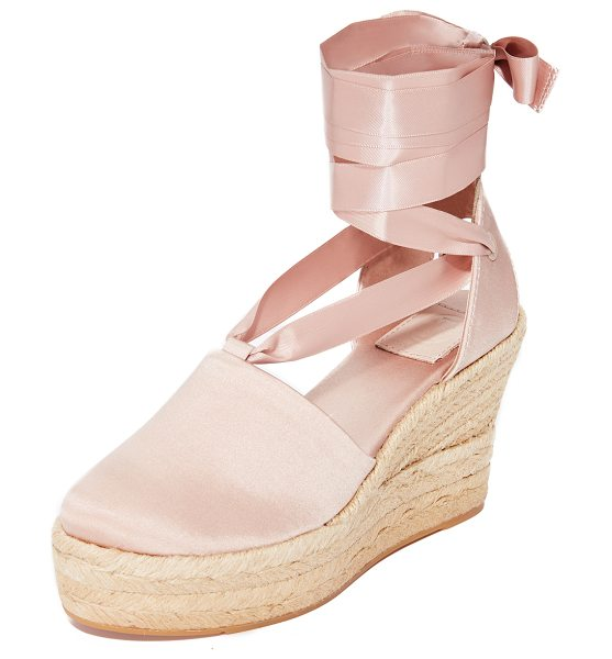 TORY BURCH elisa 90mm wedge espadrilles - An embroidered logo accents the heel cutout on these...