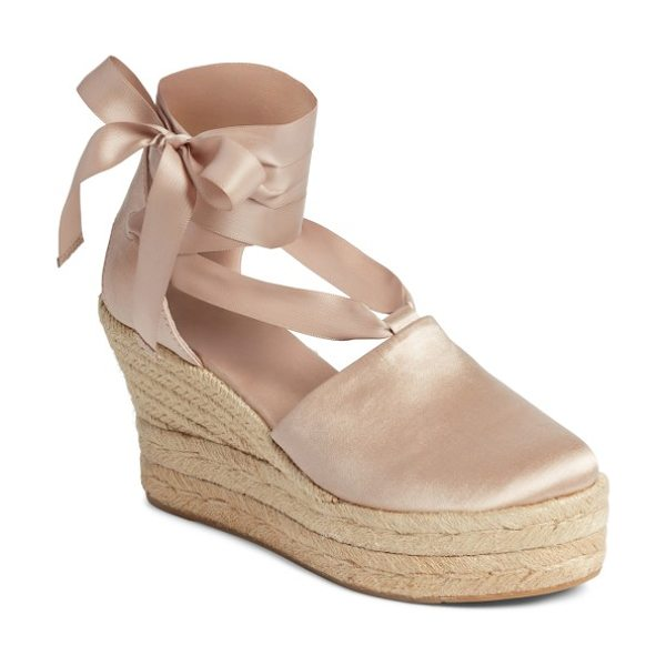 Tory Burch elisa espadrille wedge in soy latte - Refined and rustic influences meet in a lush velvet...