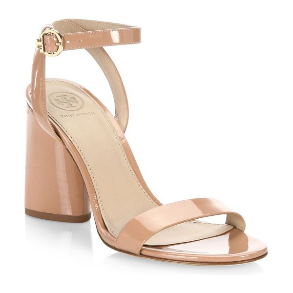 Tory Burch elizabeth leather ankle-strap sandals in nude - On-trend leather sandals with a smooth finish Block...