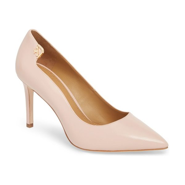 Tory Burch elizabeth pointy toe pump in sea shell pink - Polished Tory Burch hardware accentuates the notched...