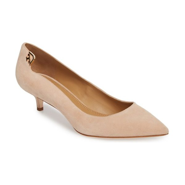 Tory Burch elizabeth pointy toe pump in perfect blush - Updated Tory Burch hardware accentuates the notched...