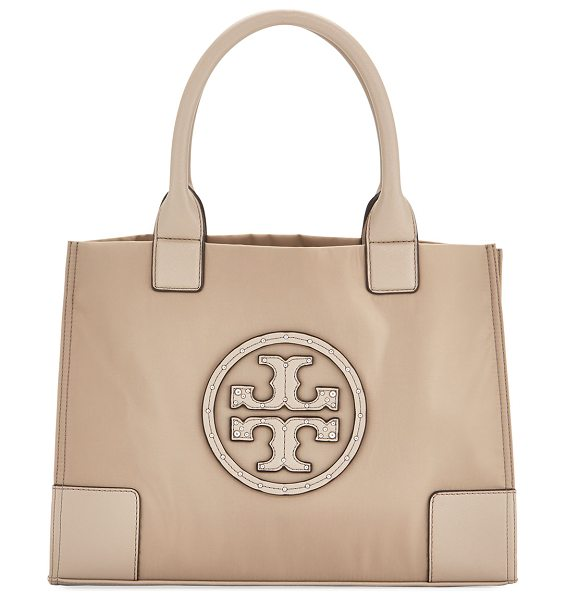 TORY BURCH Ella Studded Mini Nylon Tote in french gray - Tory Burch nylon tote bag with leather trim. Rolled tote...