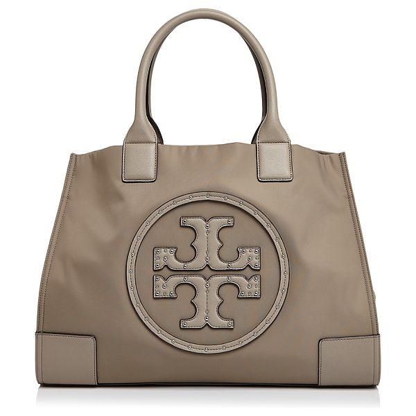 Tory Burch Ella Stud Logo Tote in french gray/silver - Tory Burch Ella Stud Logo Tote-Handbags