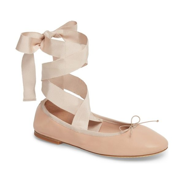 Tory Burch elodie lace-up ballet flat in beige - Lustrous ribbons sprouting from the sides highlight the...