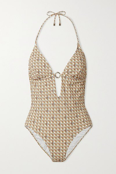 Tory Burch embellished printed halterneck swimsuit in neutrals