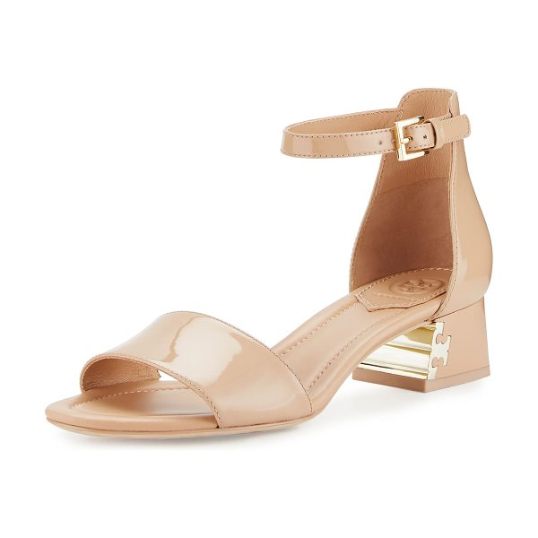 """TORY BURCH FINLEY 40MM SANDAL - Tory Burch patent leather d'Orsay sandal. 1.8"""" covered..."""